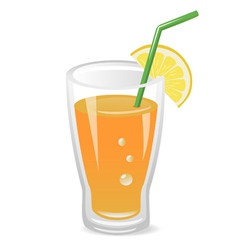 Glass of fruit juice vector