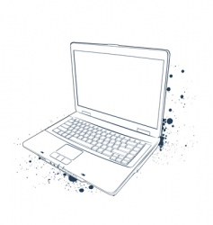 Laptop sketch vector