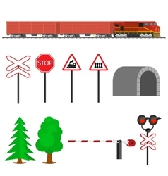 Railroad traffic way and train with cargo cars vector