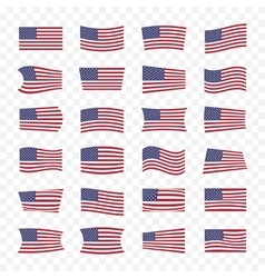 Usa flags set with different bending effects vector