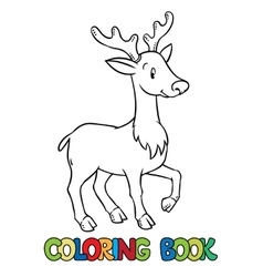 Coloring book of lttle funny young deer or fawn vector