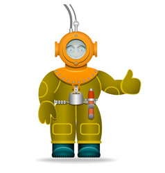 a man in an old diving suit underwater helmet vector image