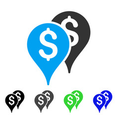 Bank map markers flat icon vector