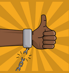 Black hand thumbs up chain broken image vector