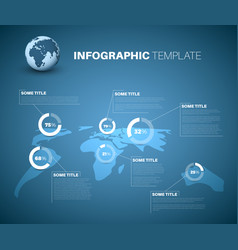 Blue world map infographic template with pie vector
