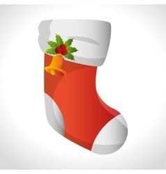 Boot sock christmas bell icon design vector