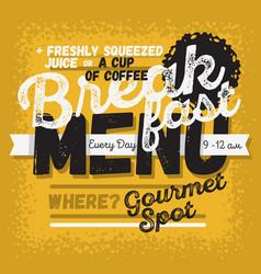 Breakfast menu vintage influenced typographic vector