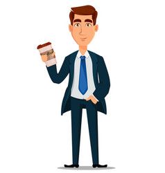 business man in formal suit holding cup of coffee vector image