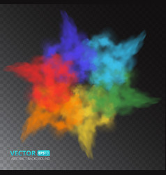colorful fog or smoke isolated on transparent vector image vector image