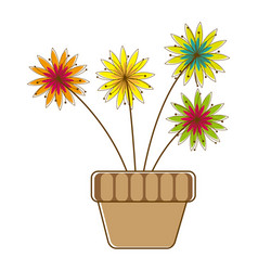 colorful silhouette with flower in pot vector image