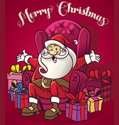 Cute santa claus sit at the chair surrounding vector