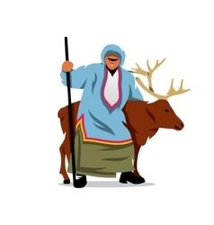 Eskimo with a deer cartoon vector