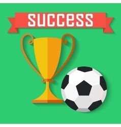 Flat design of soccer ball and gold winner cup vector