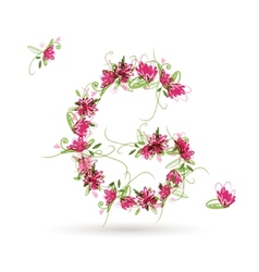 Floral letter G for your design vector image