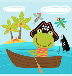 frog pirate in the boat vector image vector image