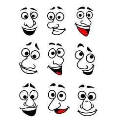 Funny cartoon faces set vector image vector image