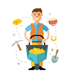 Gold miner flat style colorful cartoon vector
