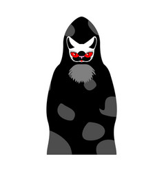 Grim reaper cat death with cats head pet in hood vector