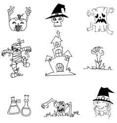 Halloween ghost character in doodle vector