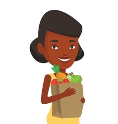 Happy woman holding grocery shopping bag vector image
