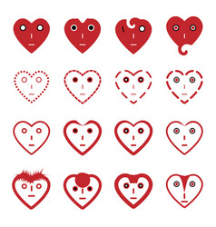 Heart emoticon face icons set vector