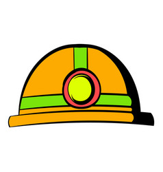 helmet with flashlight icon icon cartoon vector image
