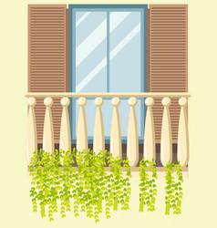house window balcony facade retro modern style vector image vector image