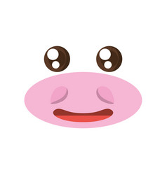 Kawaii face hippo animal expression icon vector