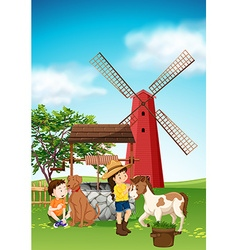 Kids and animals in the farmyard vector