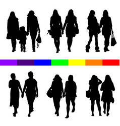 Lesbian couple silhouette set in black vector