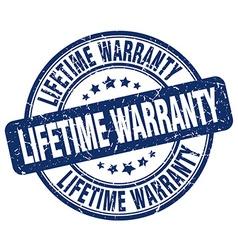Lifetime warranty blue grunge round vintage rubber vector