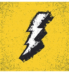 Lightning bolt grunge icon Thunderbolt Lev vector image