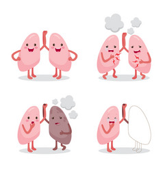 Lungs healthy and sickness set cartoon character vector