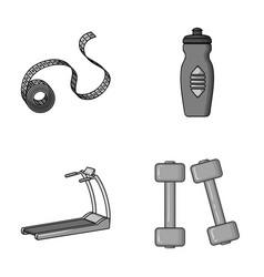 Measuring tape water bottle treadmill dumbbells vector