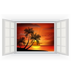 Open window of sunset background on beach vector image vector image