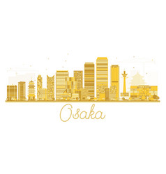 Osaka japan city skyline golden silhouette vector