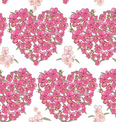 Pink heart of pansies on a white background vector image