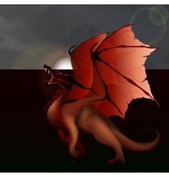 Red dragon against the gray sky vector