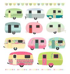 Retro vintage caravans vector