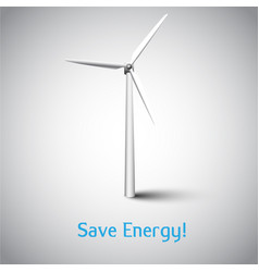 save energy with wind turbine and grass vector image