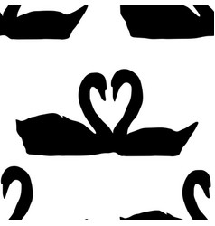 Seamless pattern couple of geese making heart vector