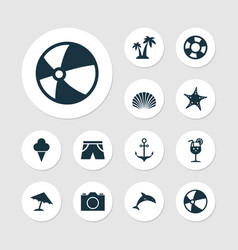 Season icons set collection of dinghy star vector