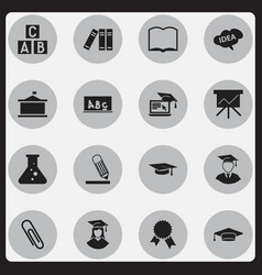 set of 16 editable graduation icons includes vector image