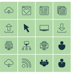 Set of 16 world wide web icons includes website vector