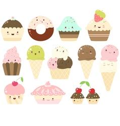set of vanilla chocolate strawberry ice cream vector image vector image