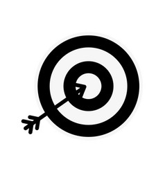 Silhouette icon arrow hitting a target vector