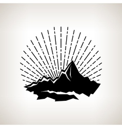 Silhouette sunburst and the mountains vector image