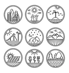 urban and nature scenes icons vector image vector image