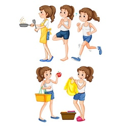 Woman doing different activities vector image vector image