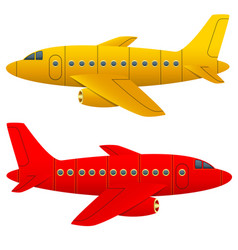 yellow and red aircraft on a white background vector image